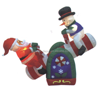 150cm/5ft inflatable santa claus and snowman playing seesaw happily for christmas decoration