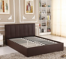 Popular chinese platform sleeping day leather double wooden beds