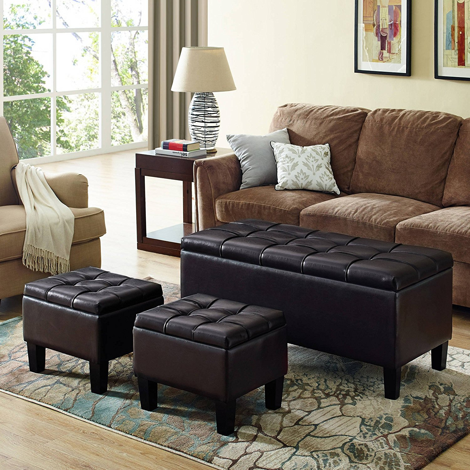 BMX Sea Mills 3-Piece Rectangular Storage Ottoman Bench, made from durable Brown Faux Leather, extra-strong and durable, a beautiful pleated stitched leather exterior, Wood frame construction.