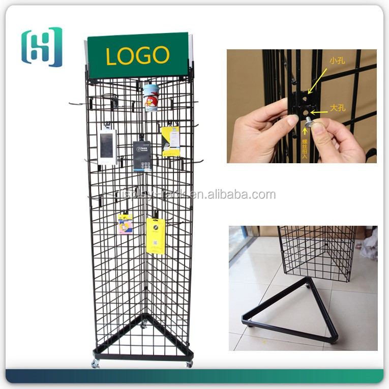 three sides wire grid hanging lipstick,makeup tools,threading knife cosmetic display stand