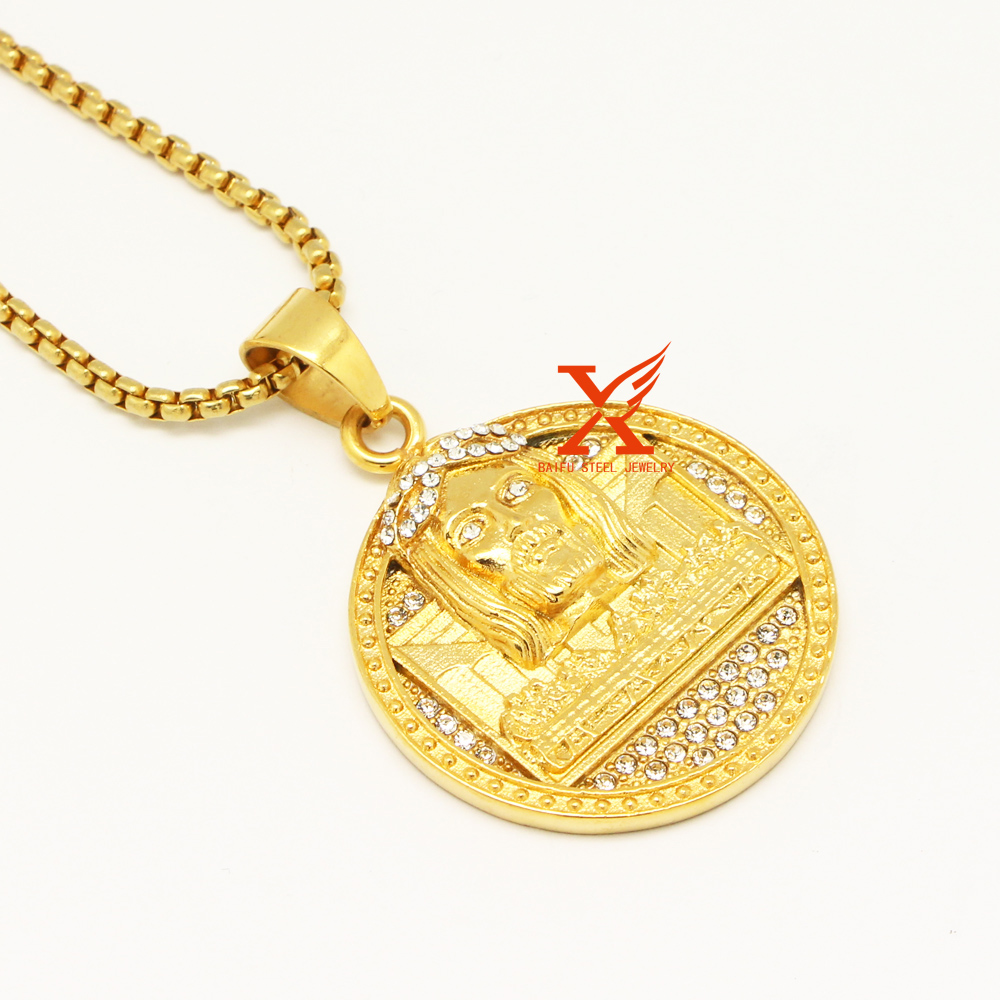 Wholesale Hip Hop Jewelry Iced Out Stainless steel Gold Silver Plated Last Supper Charm Round Pendant