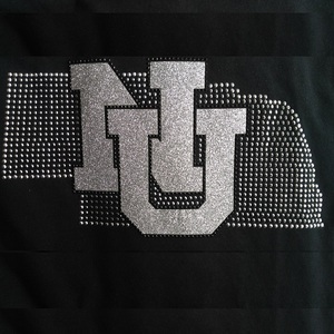 Custom Iron on Transfer Bling NU Glitter Vinyl With Stud Transfers For DIY Shirt