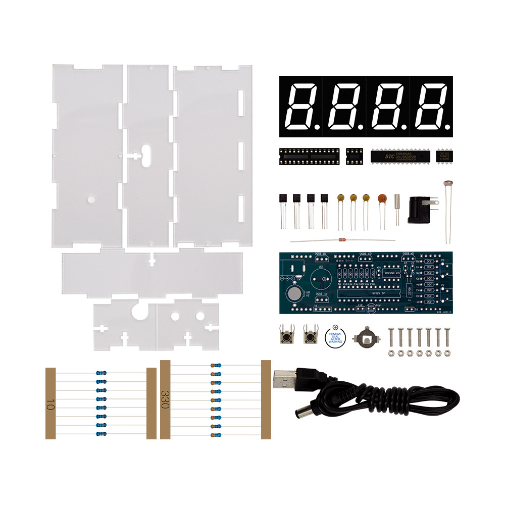 Diy Kit Red Led Electronic Microcontroller Digital Clock Time Using Pic Thermometer With Talking And Pdf Speaker