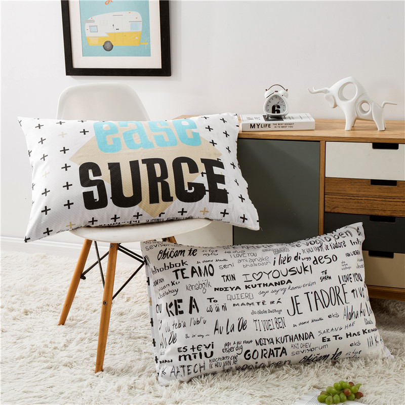 100% Katun Dicetak Bantal Case Bantal Cover Bantal