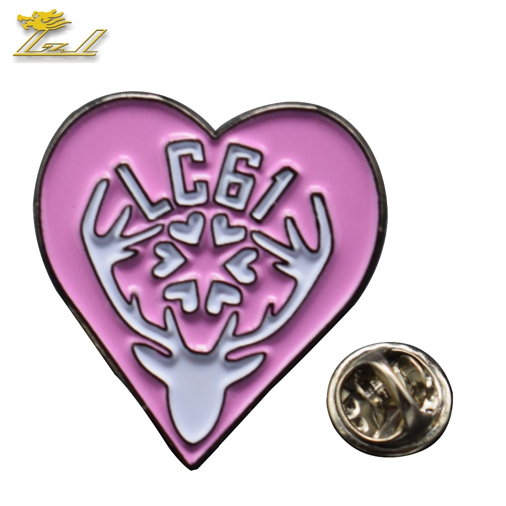 Heart soft enamel pin badge custom logo /shape metal lapel pin badge