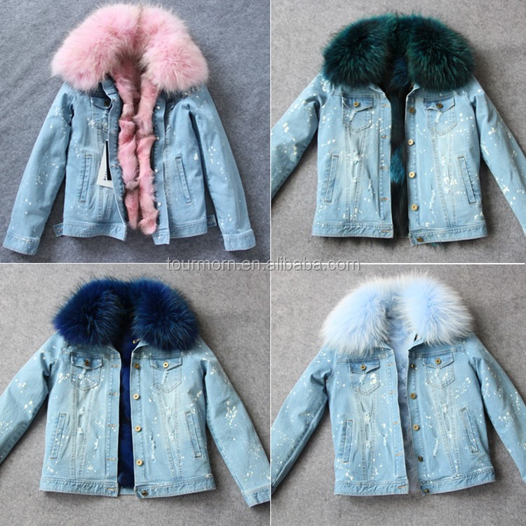 ee9dcdace8 2017 Women winter removable parka coat wholesale real fox fur lined denim  jacket with raccoon fur