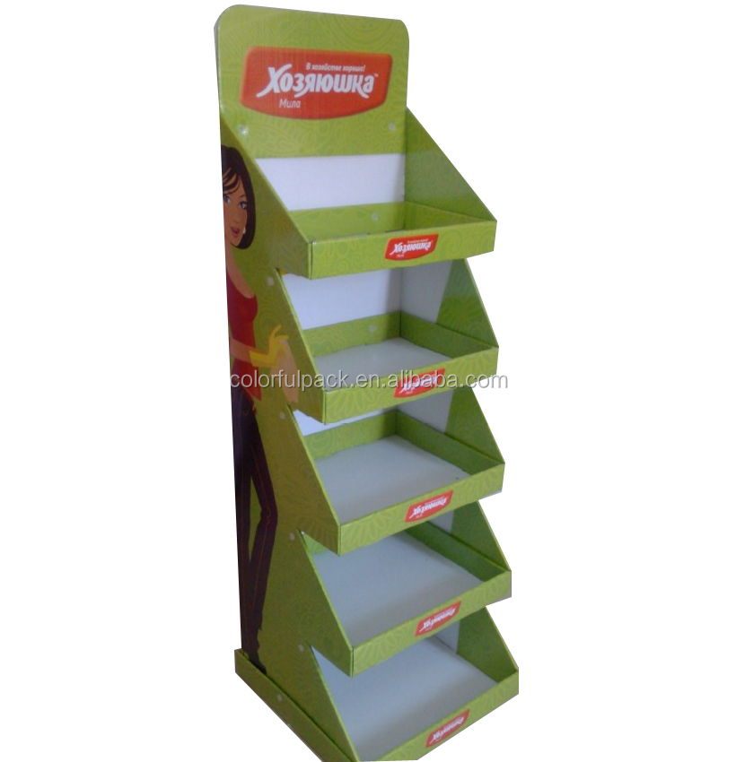 cosmeticcardboard display stand with tiers shelf/make up cardboard display