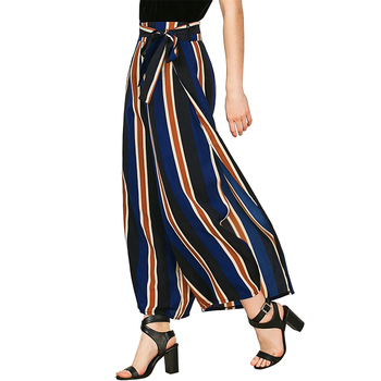 Loose Fit Ladies Pants Side Split Striped Wide Leg Palazzo Pants with Belt