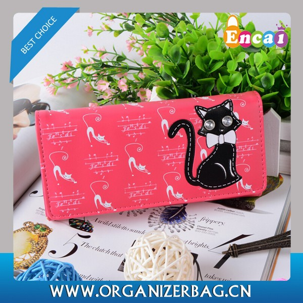 Encai Cute Cat Wallet For Women Flap Ladies Purse With Coin Slots