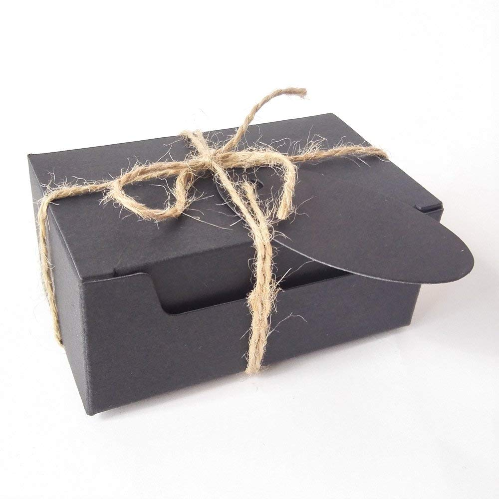 Gold-Furtune 50PCS Rectangle Gift Wrapping Kraft Paper Box With Tags & Hemp Rope Cardboard Paper Soap Box (Black Box With Black Tags)
