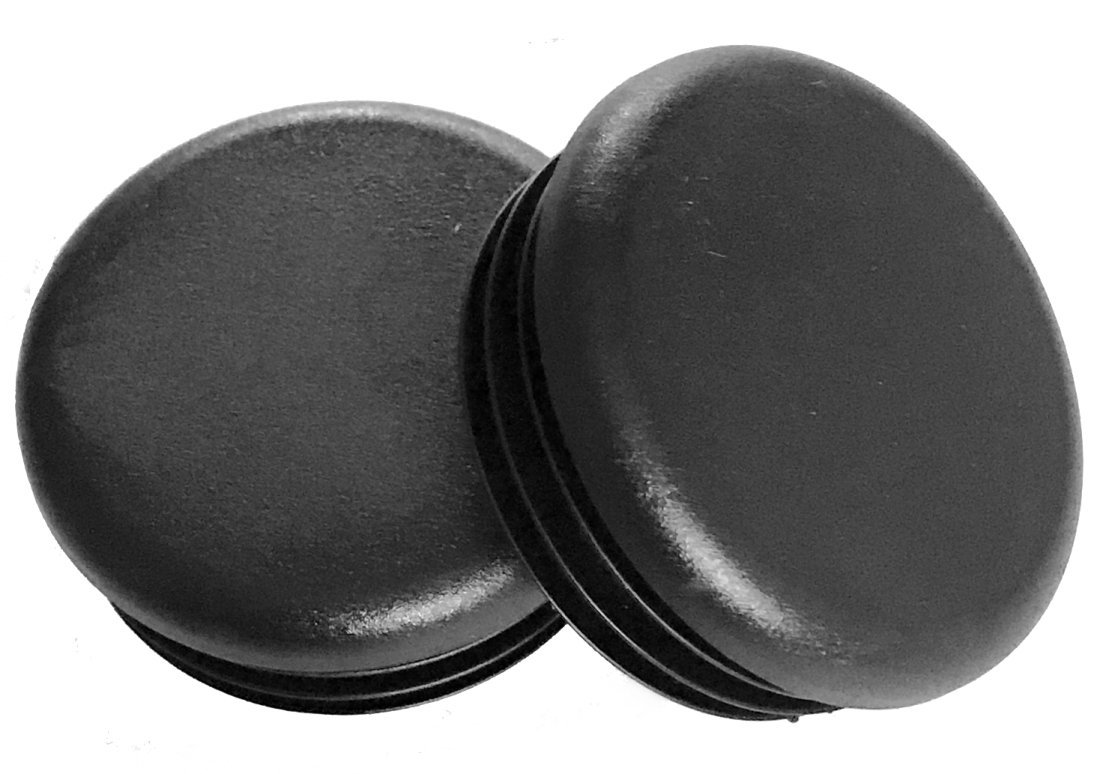 "(Pack of 10) 1"" Round Black Plastic Tubing Plug, (14-20 Gauge 0.84"" to 0.93"" ID) 1 Inch End Caps - Steel Furniture Foot - Table Chair Legs Blanking. Pipe Tube Cover Insert. by SBD."
