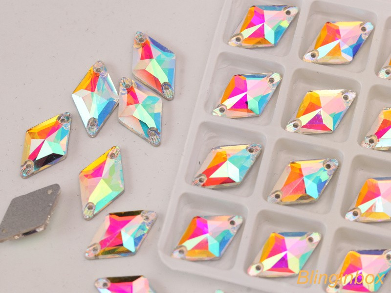 Various color 12mm Glass Material Rivoli Shape Flat Black Grystal Sew on Jewel For Garment