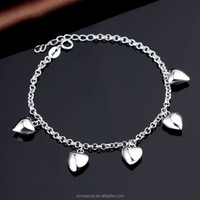 925 Sterling Silver Solid Love Heart Charm Bracelet without Stone