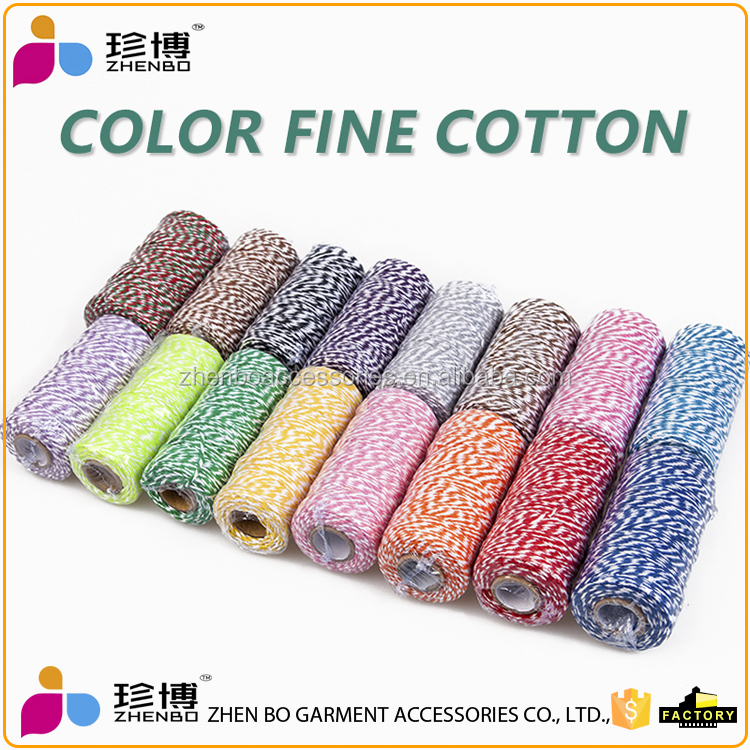 zhenbo whloesale fashion Colored decoration fine cotton rope cords