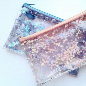 new design shiny star jelly pvc cosmetic bag/ coin bag