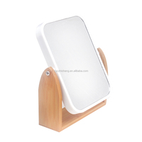 Natural Bamboo Beauty Makeup Mirror Solid Wood Desktop Portable Shaving Mirror