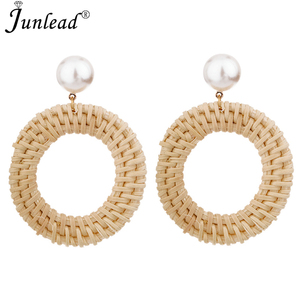 Junlead 2018 New Style Handmade Straw Weave Rattan pearl Earring Vine Braid Bamboo Round Hollow Drop Earring For Women Jewelry