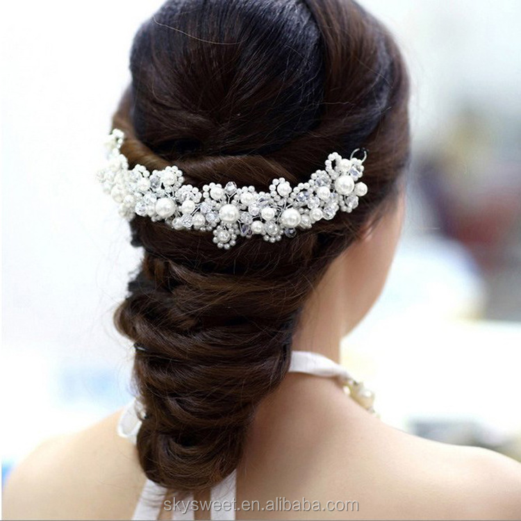 High quality U shape crystal bridal hair jewelry, pearl hair clip China wholesale