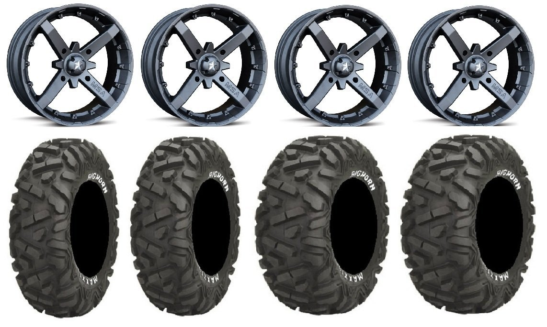 "Bundle - 9 Items: MSA Black Battle 12"" ATV Wheels 27"" BigHorn Tires [4x110 Bolt Pattern 12mmx1.5 Lug Kit]"