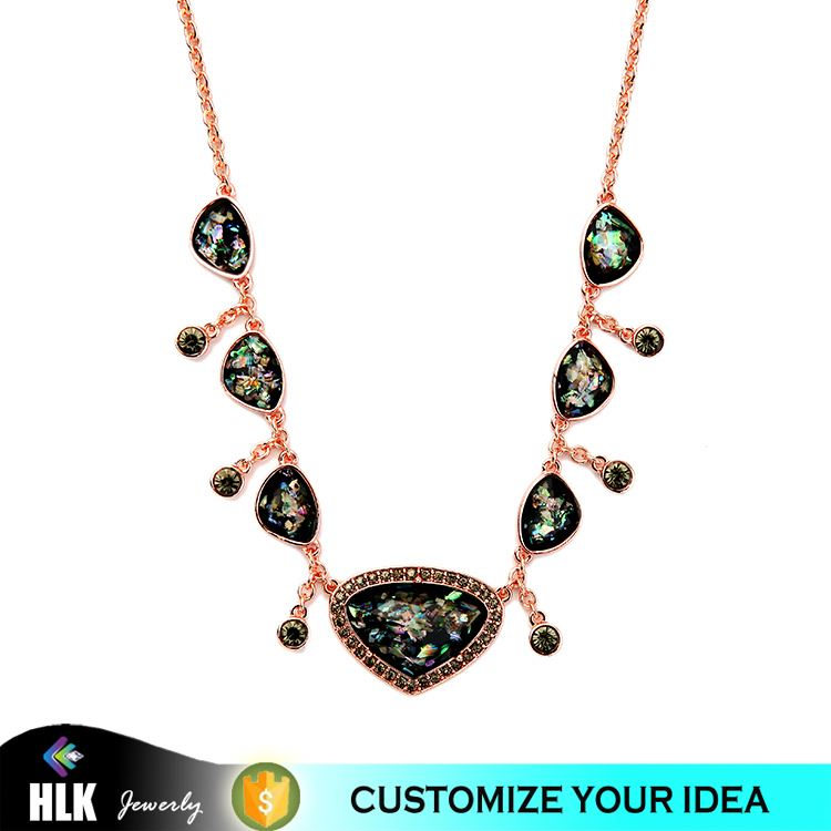 Fashion Rose Gold Charming Colour Epoxy Resin Shell Rhinestone Women Necklace Jewelry Best Selling Products 2016 in USA
