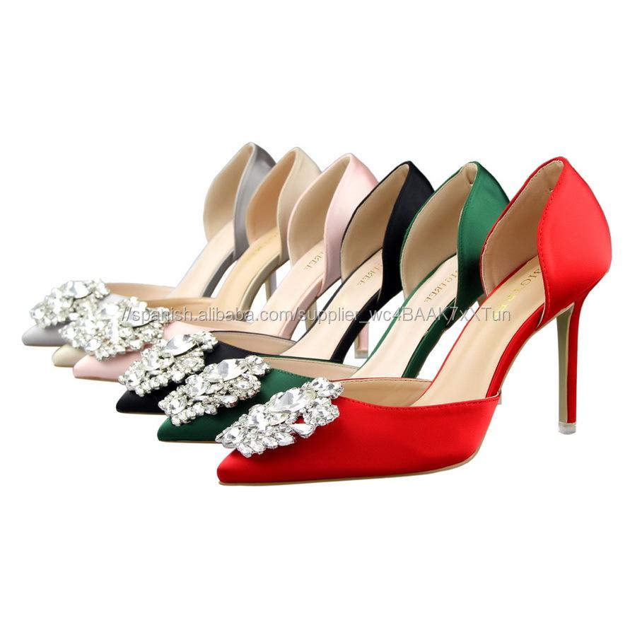 26e4088cf4 Cheapest Moda Rhinestone Nupcial Zapatos elegantes de tacón de Aguja zapatos  de boda para las mujeres
