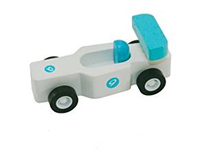 Mini Wood Toy Race Car - Blue/White Made from Durable Wood for Boys and Girls