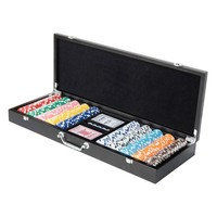 Wooden Case Poker Chips Set - 500pcs Chips Set