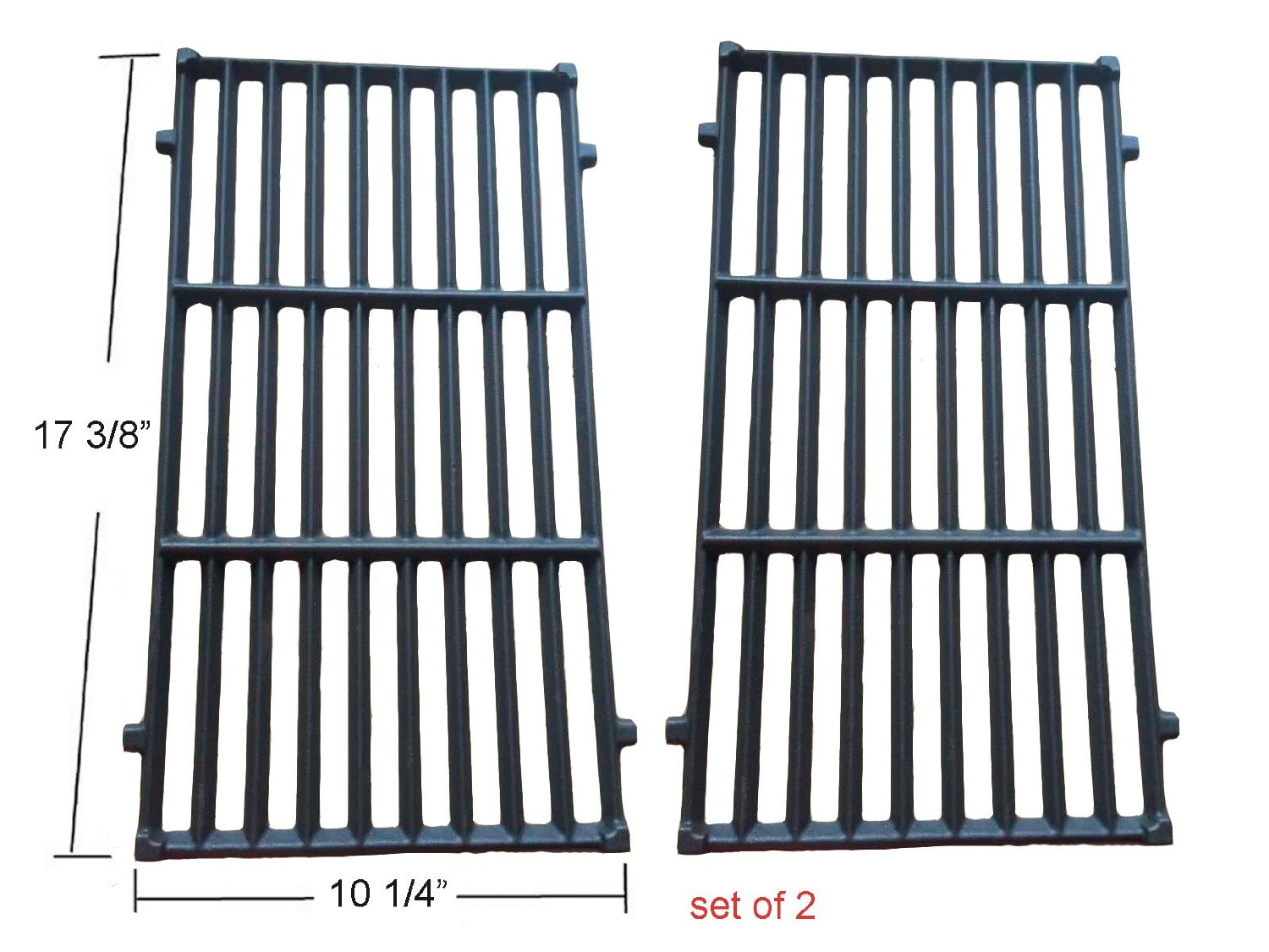 BBQ funland GI637 Cast Iron Cooking Grates for Weber Spirit 200 Series Gas Grills, SET of 2