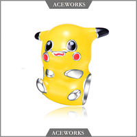 CM9995 Aceworks 925 Sterling silver Enamel Pikachu Pokemon go Bead Charms for Bracelet