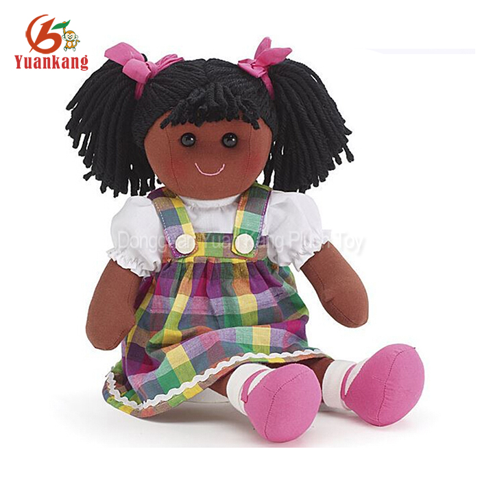 Wholesale Custom Human Plush Baby Black Girl Rag Dolls With Afro Hair
