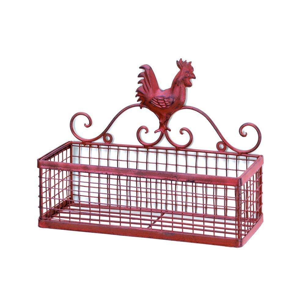 MyEasyShopping Red Rooster Single Wall Rack, 1-Rooster Single Wall Rack, Wall Rack Rooster Red Single Basket Country Iron Rustic Kitchen Storage Farmhouse Decor, Vintage Bathroom Mounted Metal