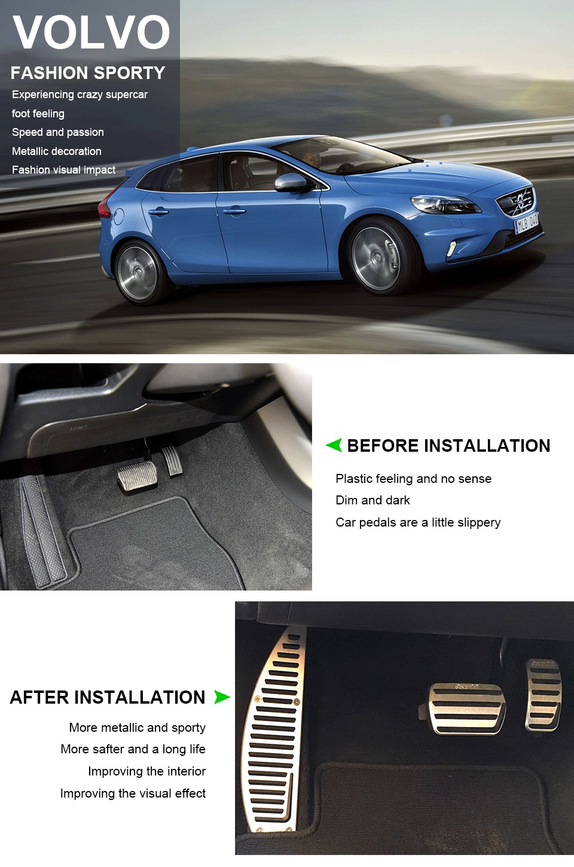 Aluminium Non Slip Foot Rest Pad Accelerator Brake Pedal Cover For Volvo C30 MT