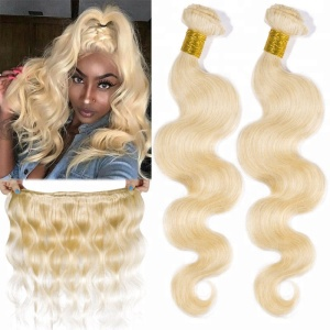 Alibaba stock price 16 18 20 inch brazilian body wave 613 blonde hair weave with transparent lace frontal