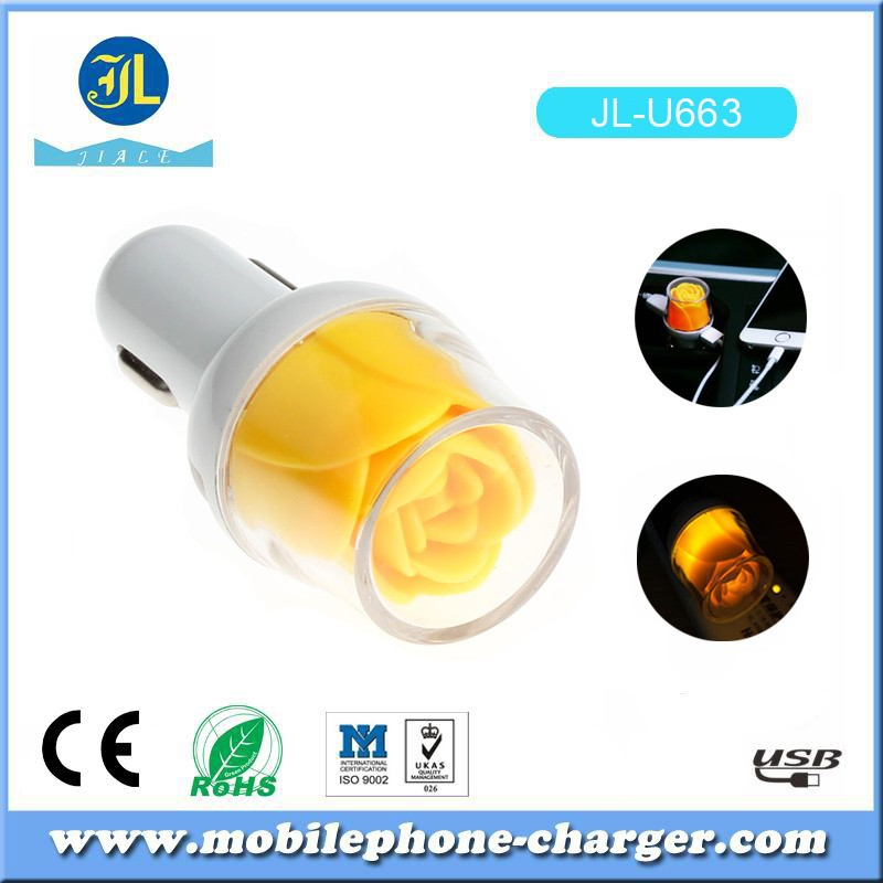 Rapid Auto Vehicle Micro USB Car Charger Adaptor For Cell Phone with LED rose flower