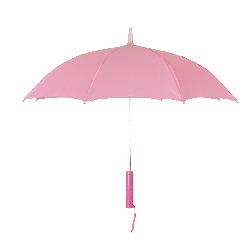 2019 new design small pink kids led plastic handle umbrella for kids