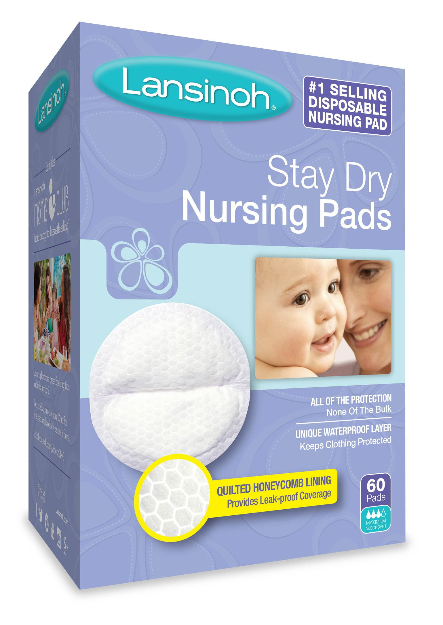 Lansinoh Stay Dry Disposable Nursing Pads, Number One Selling Breastfeeding Pad For Breastfeeding Mothers, Leak Proof Protection, Maximun Comfort and Discretion, 4 Packs of 60 Count (240 Count)