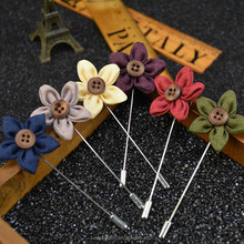 Handmade fabric star shaped wooden brooch wholesale BRL0328
