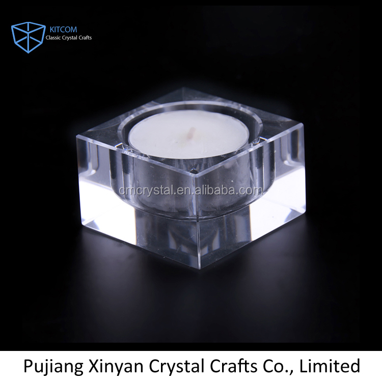 Hot sales Promotional clear squared crystal candle holder