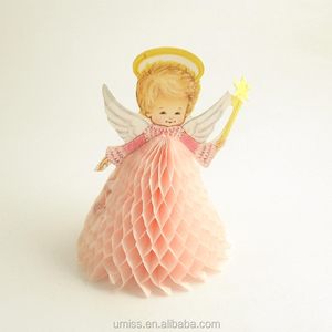 UMISS Vintage Angel Paper Honeycomb, Wedding Table Centerpiece, Baby Shower Decorations