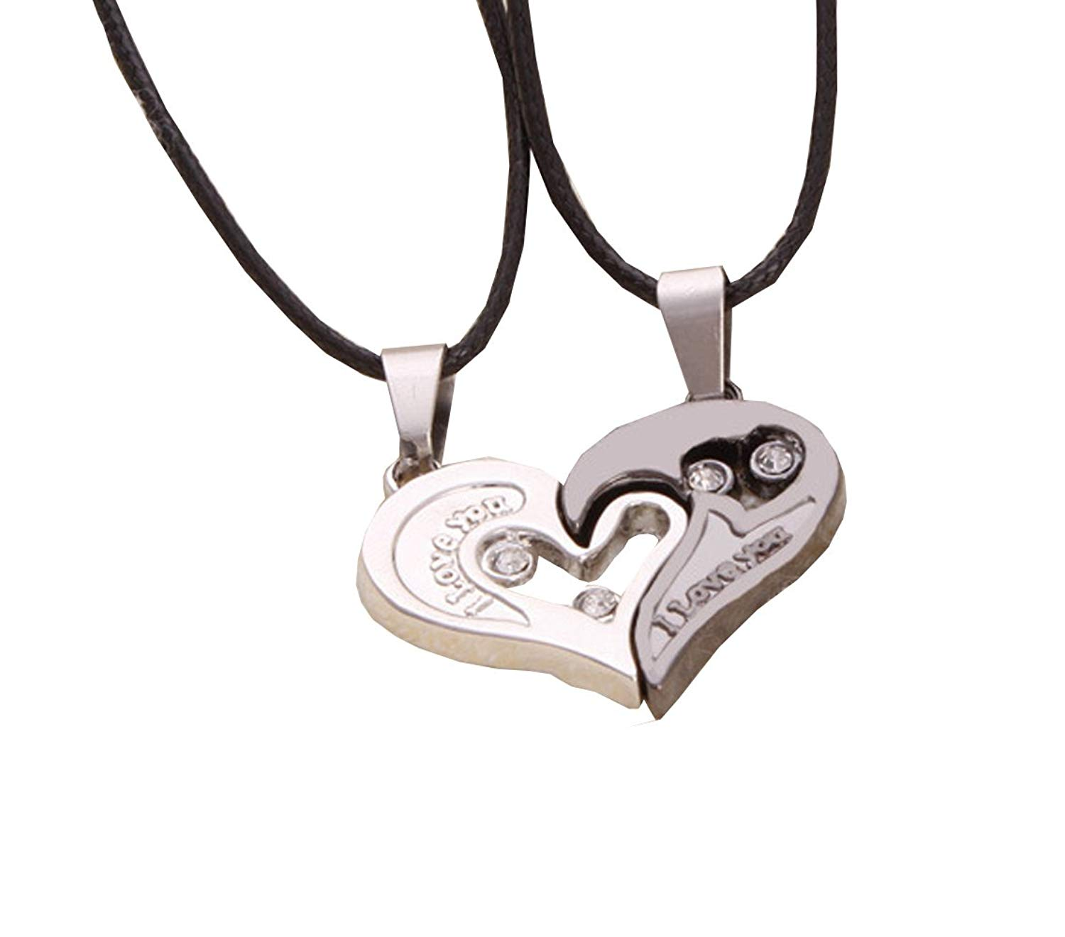 ec35ff4ad2 Get Quotations · Stainless Steel Mens Womens Couple Necklace Friendship  Love Matching Heart Pendants