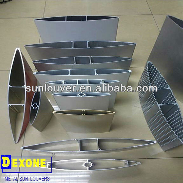 Aerofoil louver, aluminum extrusion section with olive shape used as outdoor louvers