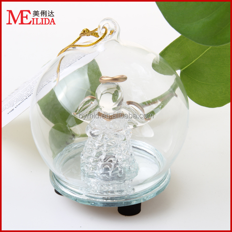 hot sale muticolor programmable LED christmas glass decoration/ angel