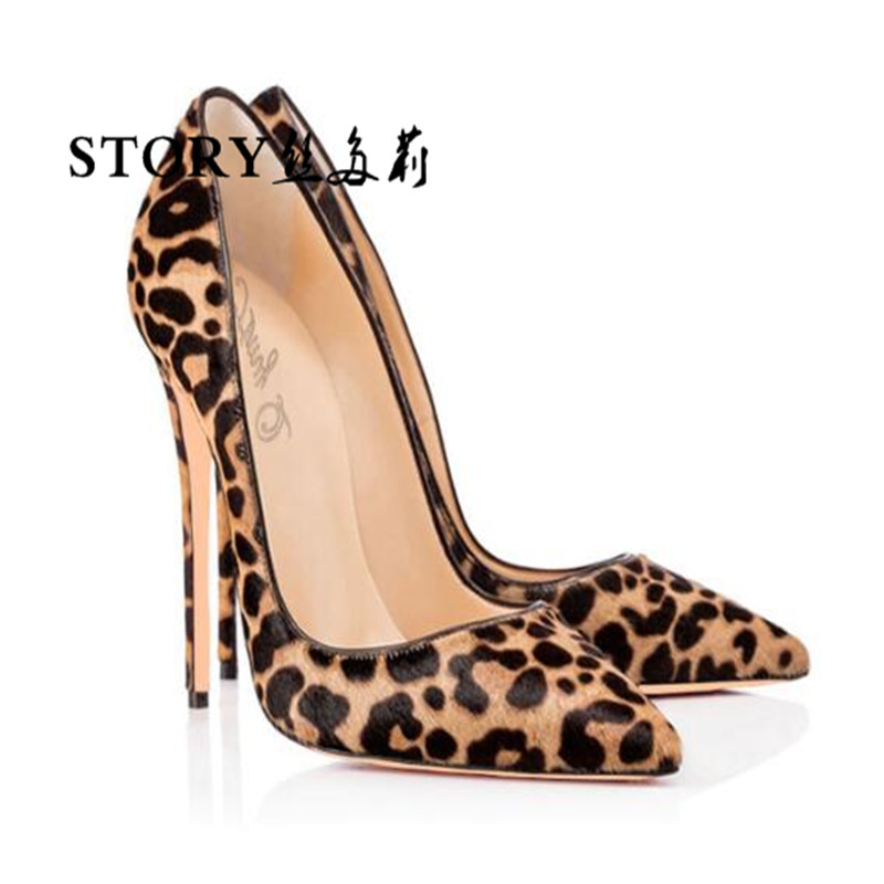 Classic wedding bridal sexy women ladies handmade animal leopard print leather pointed toe shoes stiletto pumps thin high <strong>heels</strong>