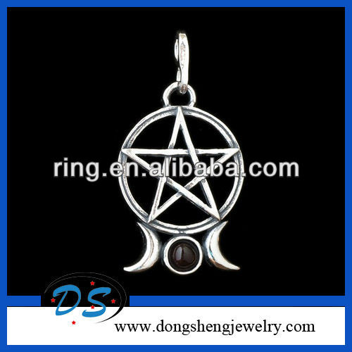 Silver Tone Triple Moon Pentacle With Garnet Pendant Necklace