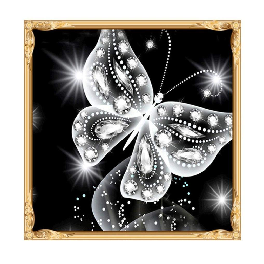 zhui star DIY Round Diamond Painting Kits Adults Full Drill Cross Stitch Yellow Flower Butterfly Home Decoration 40x30CM