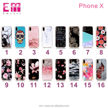 Soft tpu phone case for iphone x color painting flower skull pattern cell phone cover