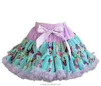 Cream Pink Flower Blue Butterfly Lavender Trimmed Soft Pettiskirt
