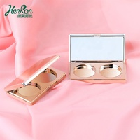 Korean Style Cosmetic Case Gold Compact Case Plastic Oem Eyeshadow Powder Makeup Palette Empty Eyeshadow Case With Mirror