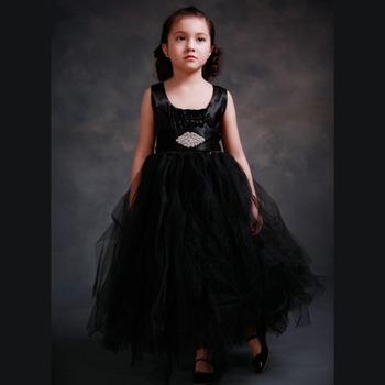 Summer Children Lace rhinestone crystal belt Princess Sleeveless Ball Gown  Tutu black Flower Girls Dress Kids 98b1329df974