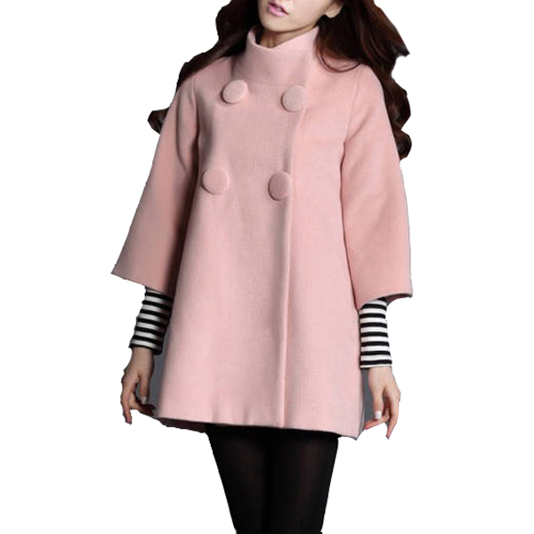 Winter Coat 2015 Hot Sale Newest Style Double Breasted Three Quarter Sleeves Women Coats Manteau Femme WWN767